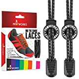 Proworks No Tie Laces | Elastic Easy Tie Shoe Laces for Adults and Kids Running Shoes - Black