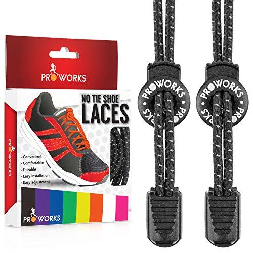 Proworks Lacci Elastici | No Tie Lacci da Scarpe Facili da Legare per Adulti e Bambini e Scarpe da Corsa - Nero