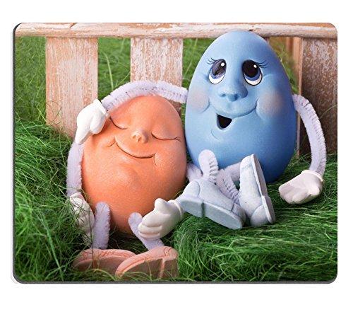 pad Bild-ID: 27248404blau und orange Ostern Ei sitzen auf Gras ()