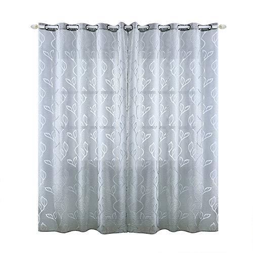 Enjoygoeu Gardine Halbtransparent Ösenschal Schlaufenschal Voile Blätter Muster Vorhang Fenstersiebung Modern Dekoschal für Wohnzimmer (Grau, 100 x 250 cm)