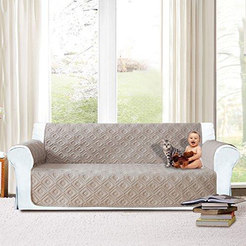 Imperial rooms, copridivano trapuntato per divano e poltrona, resistente all'acqua, modello trapuntato disponibile in tre misure per divani e poltrone da 1, 2e 3posti, beige, three seater