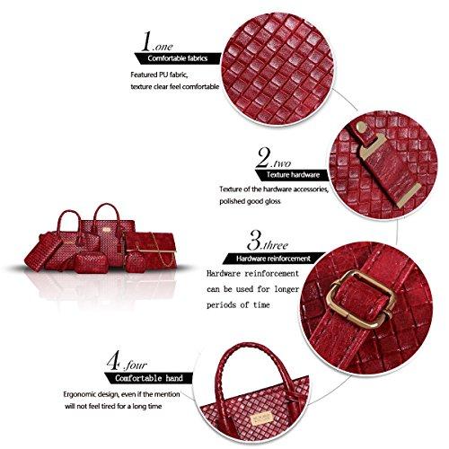 Sunas Il tessuto di modo del sacchetto di spalla della borsa delle donne di estate 2017 estate nuovo 6 insiemi del raccoglitore dell'unità di elaborazione delle borse Vino rosso