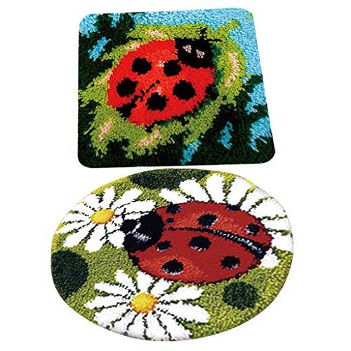 IPOTCH 2 x Acryl-Mischgewebe Haken Kit, Marienkäfer Knüpfteppich für Kinder und Erwachsene