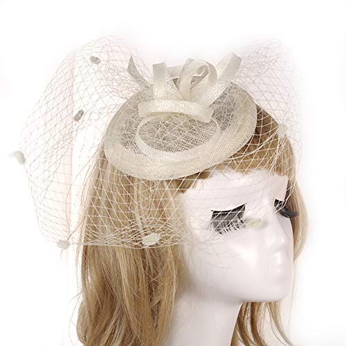 FIYOMET Frauen Fascinator Braut Hut Retro Lady Haarschmuck Bankett Headwear Leinen Gaze Hüte (Mutter Teenager-tochter Halloween-kostüme Und)