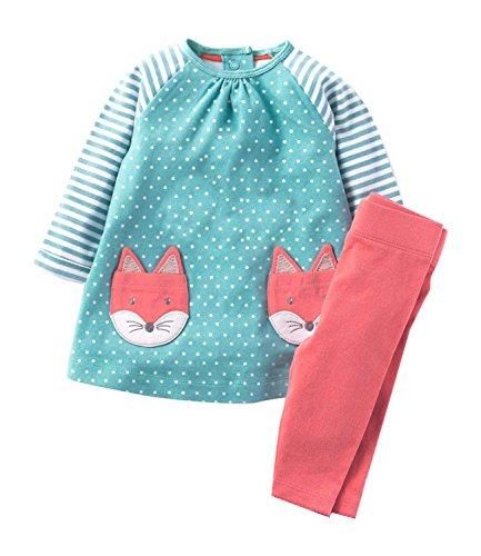 Rebavl Mädchen Niedlich Lange Ärmel Schlafanzug Baumwolle Tier Stickerei Muster Pyjama Sets Nachtwäsche Größe 98-128 (Nachtwäsche Baumwolle Mädchen)