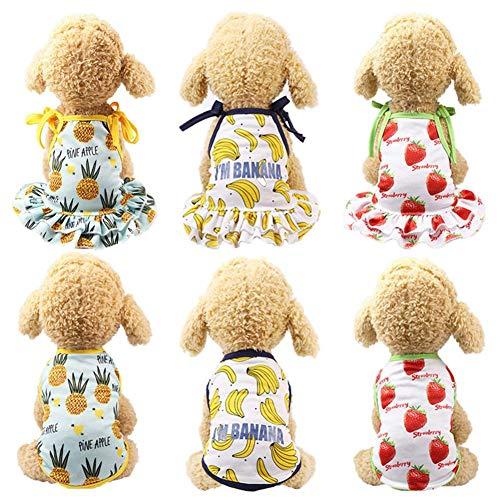 Hittime Dog Cartoon Fruit Clothes Couple Pet Dress Skirt Summer Puppy Cat Clothes Banana Dress XS