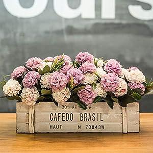 Plamzeyl Flores Artificiales Blanco Morado Maceta De Madera Seda para De Banquetes En El Jardín Nunca Se Desvanecen con…
