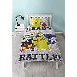 Pokèmon Pikachu - Juego de funda de edredón reversible con funda de almohada a juego, poliéster, algodón, color gris, tamaño individual