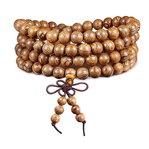 8mm tibetano 108perline preghiera Mala bracciale cinese nodo elastico naturale legno collegamento polso Mala collana