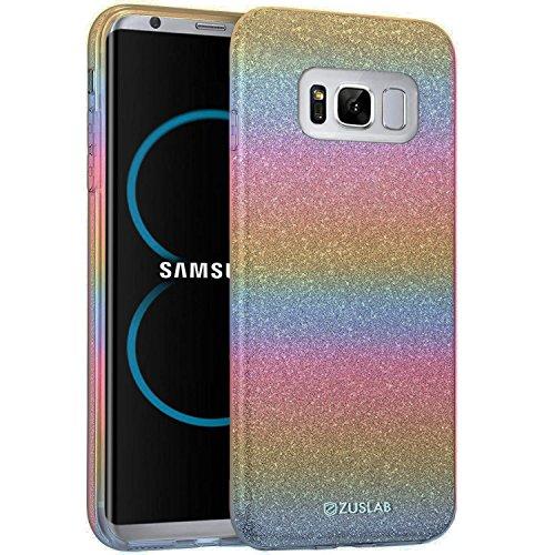 ZUSLAB Galaxy S8 Hülle, Schutzhülle Weiche TPU Abdeckung Glitzer Papier PC innere Schicht Drei in Einem Hülle für Samsung Galaxy S8 [Rosy][Regenbogen] Regenbogen