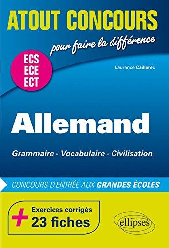 Allemand Concours d'Entrée aux Grandes Écoles de Commerce ECS ECE +23 Fiches Exercices Corrigés