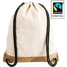9cf9d775a0411 Fair-Trade zertifizierter Handmade Turnbeutel Rucksack aus Jute und  Natur-Canvas für Damen