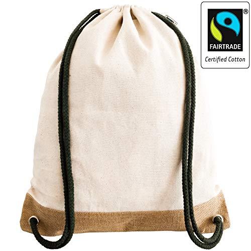 Fair-Trade zertifizierter Handmade Turnbeutel Rucksack aus Jute und Natur-Canvas für Damen, Herren, Mädchen und Junge - Jutebeutel, Gym-Bag, Sportbeutel, für Reisen, Freizeit, Yoga und Festival