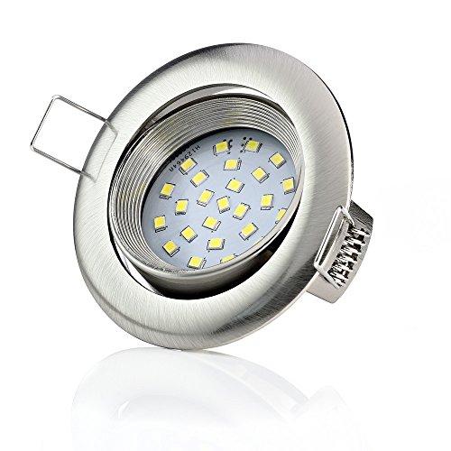 Sweet-led Lot de 6 spots LED encastrables - Ultra plat - 5 W 450 lumen 230 V - lampe ronde avec socle carré pour le plafond, Rund-chrom Gebürstet,3000k 5.0watts 230.00volts