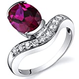 Revoni Channel Set 2.50 carats Ruby Diamond CZ Ring in Sterling Silver