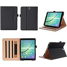 ISIN Funda para Tablet Serie Funda de Premium PU con Stand Función para Samsung Galaxy Tab S3 9.7 SM-T820 y SM-T825 Android 6.0 Marshmallow Tablet con Velcro Correa de Mano, Múltiples vista ángeles y Documento Tarjeta de Bolsillo (Negro)