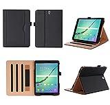 ISIN Tablet Fall Serie Premium PU-Leder Schutzhülle für Samsung Galaxy Tab S3 9.7 Zoll SM-T820 und T825 Android Tablet PC mit Mehrere View Engel (Schwarz)