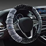 #7: NIKAVI Fur Car Steering Wheel Cover (Grey)