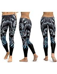 WYLYJTZ Pantalones de Yoga Leggings de cráneo Pantalones de Yoga Mujeres Pantalones Deportivos Fitness Correr Empujar Usar Desgaste Elastic Slim Leggings de Entrenamiento