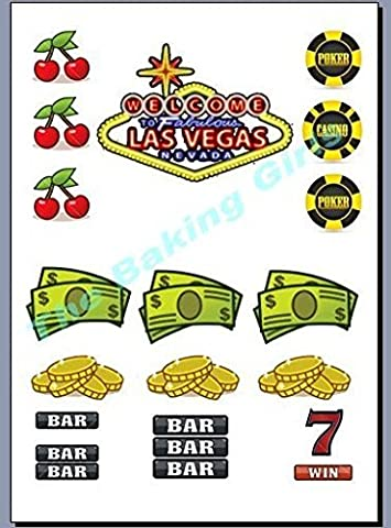 LAS VEGAS-MIX DOLLARS/fruits/MACHINE jetons de CASINO cupcakes comestibles en support