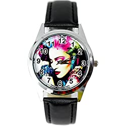 TAPORT® MADONNA Quartz ROUND Watch Black Real Leather Band COLOUR Dial+FREE SPARE BATTERY+FREE GIFT BAG