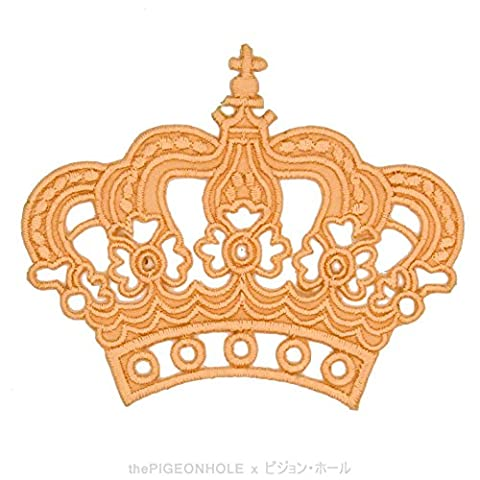 [ Dream Big, Princess ] Peach Royal Crown - Clip Art Iron On, Sew On Embroidered Patch - Gift, Travel Souvenir, Collectible, Décor