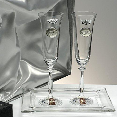 Set/Estuche de 2 copas de champán para novios, bodas de plata/oro, an