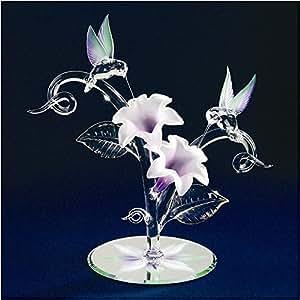 Trochilidés (colibris ou oiseaux-& Figurine en verre Fleurs