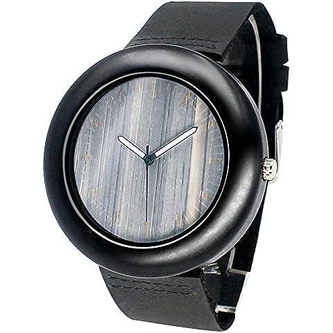 IBigboy orologi in legno naturale vera movimento al quarzo giapponese orologio da uomo puntatore luminoso (Libero Su Font)