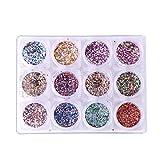 Robifel 12 pezzi Set di unghie design decorazione nail art Crystal glitter paillettes paillette manicure acrilico lucido