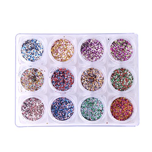 robifel 12 Stück Nail Art Kristall glänzend Glitter Pailletten Paillette Maniküre Acryl DIY Nägel Design Deko-Set