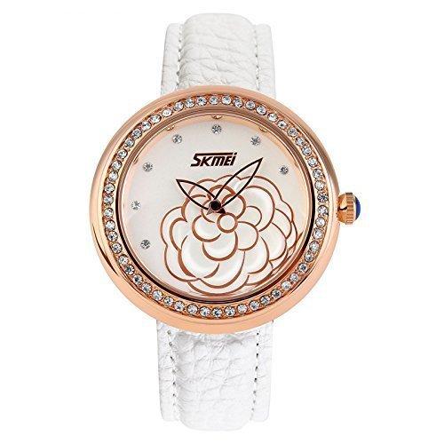 zonman Quarzuhr Lederband Gravur Camellia Blume Zifferblatt Lady Frauen Kleid Uhr mit Strass Design 18K Vergoldet-Weiß
