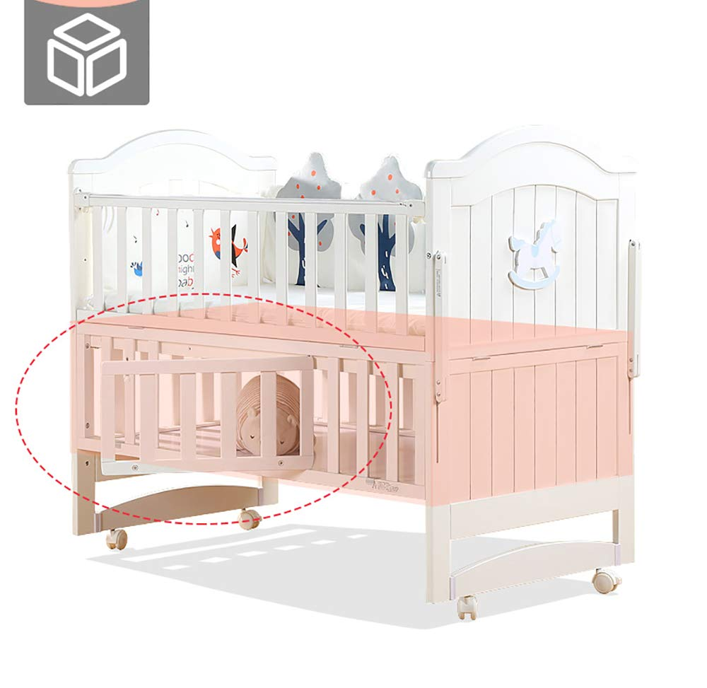 VBARV Solid Wood Crib, Multi-function Cradle Bed, Children's Splicing Bed, Portable Folding Bed, Suitable for Infants 0-8 Months Cute Nest VBARV The multifunctional bassinet design is suitable for use as a standalone crib, or as a co sleeper crib. Interchangeable modes allow either a stable or rocking mode at the touch of a button CONVERTIBLE: Simply pull up the side rail and use the cot as a stand-alone bed or bassinet during the day. Four lockable wheels make it easy for you to move from one room to another having your newborn always on your side. Modern travel crib in easily foldable,Mosquito net to protect your little one against insects, pets etc 3