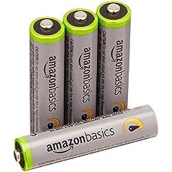 AmazonBasics - Juego de 4 pilas recargables AAA Ni-MH (precargadas, 500 ciclos, 850mAh, mínimo 800mAh) - La cubierta exterior puede variar