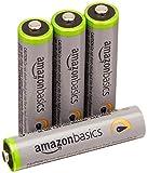 AmazonBasics Vorgeladene Ni-MH AAA-Akkus - Akkubatterien, 500 Zyklen (typisch 850mAh, minimal 800mAh), 4Stck (Äußere Hülle kann von Darstellung abweichen)
