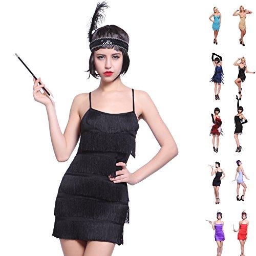 Imagen de maboobie  disfraz de charlestón para mujer vestido con flecos para fiesta carnaval disfraces de los años 20 flapper xs negra  alternativa