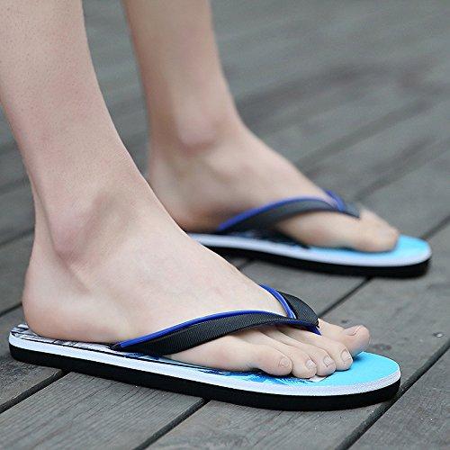 flip flops hommes, orteils, pantoufles talon plat, chaussures de plage, antidérapage fond souple, étanche à l'eau et une vadrouille fraîche Blue