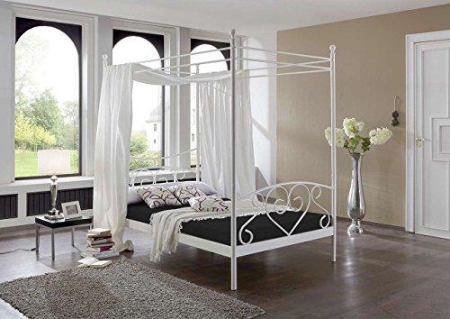 lifestyle4living Bett, Himmelbett, Metallbett, Futonbett, Komfortbett, Komplettbett, Liegefläche 120 x 200 cm, weiß, Rollrost, Matratze schwarz