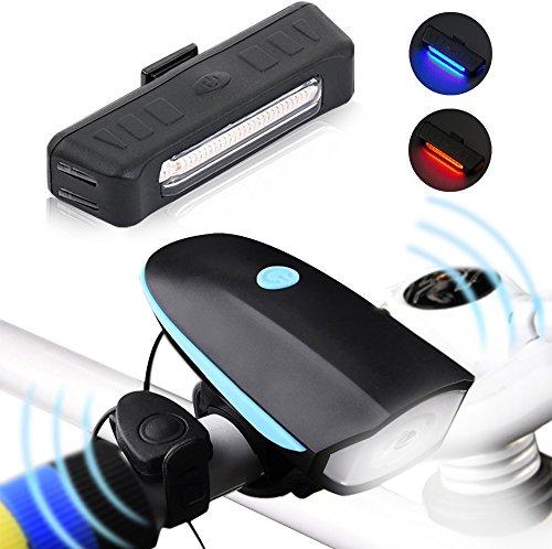 iRegro USB recargable luz de la bici – super brillante 1200 lúmenes de luz frontal con altavoz 120 dB y LED bicicleta conjunto Luz trasera, a prueba de salpicaduras y resistente al agua y fácil de instalar y quitar para la práctica del ciclismo