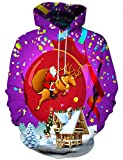 LAIDIPAS Unisexe Manches Longues Noël Sweatshirts Hoodies imprimées au néon 3D Graphic Jumpers Animal Sportswear S