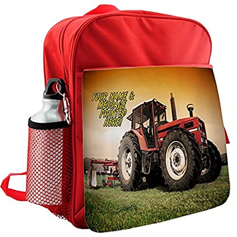 Personalised Tractor Farming Harvest St176 Red Childrens Backpack Kids Rucksack