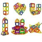 77 PCS Building Blocks Set Magnetic Tiles, DIY Creative STEM Building Block Preschool Educational Construction Kit 3D...