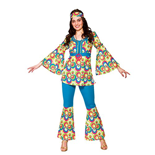 Ladies 60'S Funky Hippy Chick Fancy Dress Costume (70's Hippie Chick Kostüm)