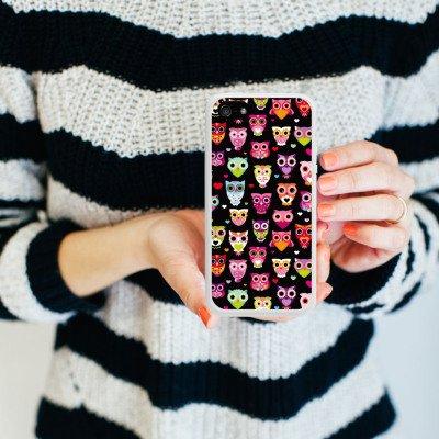 Apple iPhone 5 Housse Outdoor Étui militaire Coque Owl hibous Motif Motif Housse en silicone blanc