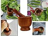 Khandekar (with device of K) Masher Gewürzmühle, Holz Mörser und Stößel - ideal für Crushing Spice & Herbs Crusher, perfekt zum Mahlen von Knoblauch/Herb/Crushing Sesamsamen Handarbeit (7 X 3,5 Zoll)