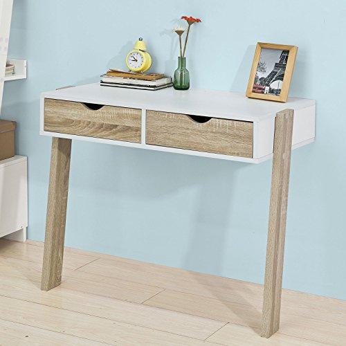 Promotion -30% ! SoBuy® FWT36-WN Table murale Bureau informatique avec 2 tiroirs et 2 pieds