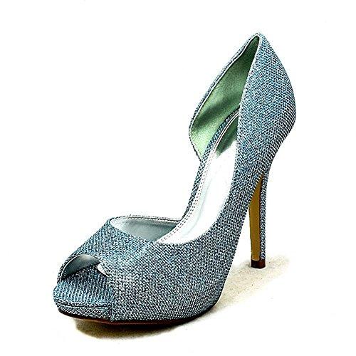 Onorevoli glitter Tacco rivestito di uno scarpe lati da sposa Blue Glitter