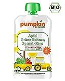 Bio-Babybrei im Quetschie von Pumpkin Organics - Babynahrung mit viel Gemüse, ohne Zusatzstoffe - HAPPY mit grünen Bohnen, Spinat mit Apfel und Kiwi (10x100g) ab dem 6. Monat