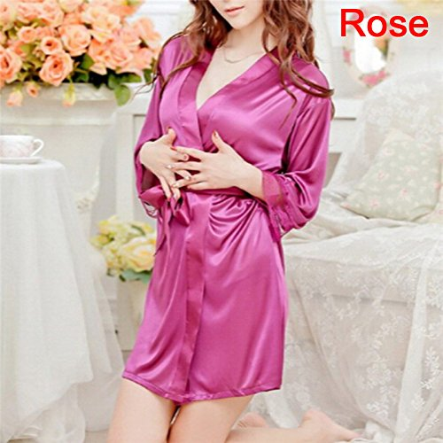 YQZXKL Bodystocking Weibliche Mini Nachtwäsche Lace Lace Frauen Nachthemd Dessous Ice Silk Elegante Satin Nachthemden Robe G String Unterwäsche Sets,Rose,One Size
