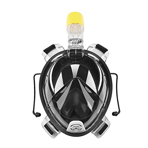 Máscara de Buceo Seaview 180 °Panorámica(Snorkel, Cara Completa, Scuba Acuáticos, Anti-niebla, Anti-fugas, Submarinismo Natación, Nadar Respiración, para Cámara Gopro) (L, XL) (Negro)